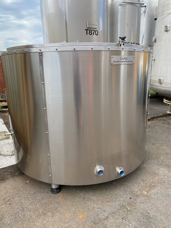 1800_litre_fermentation_vessel_316_stainless_Steel_CIP_cooling_jacket_exterior_external